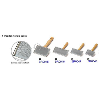 Slicker Brush (Wooden Handle Series) - BR-0045-0048